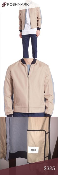 NWT MSGM Bomber Jacket  $300 off retail price This brand new MSGM Bomber Jacket is perfect. Sand colored front with light greyblue faux suede sleeve/shoulder/back. MSGM Jackets & Coats Bomber & Varsity