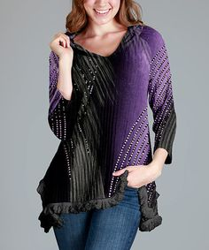 Love this Purple & Black Abstract Notch Neck Hoodie on #zulily! #zulilyfinds