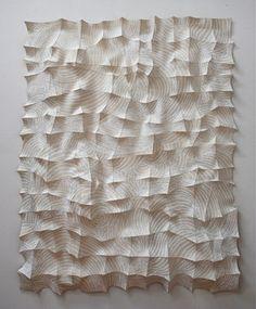 Kim Baekya, Textile artist Chung-Im Kim silk screens patterns onto industrial felt pieces, hand stitching the felt to create dimensional wall sculptures that seem to sway. Pinned by Stine Linnemann Studio