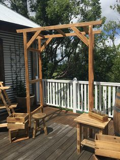 Wedding Arbour - rustic style. Color may vary from the photo depending on recycled timber we have available. Lighter timbers are what we usually have at hand. Our arbors are sprayed with a lacquer so if you want to stain or paint it, let us know so we can leave it raw. Want us to stain or paint it for you? Add $75 to cover stain / paint and our time. We build our arbours so they can be flat packed and bolted together for ease of traveling. Measurements: 2270 tall 1800 wide 770 deep. We can…