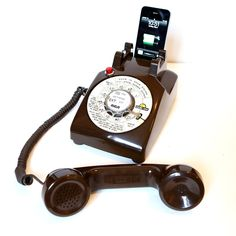 Vintage Chocolate colored Motel Rotary Phone iPod / iPhone charging speaker dock w/ remote by Rotary Revival