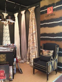 like the way the fabric is displayed -- DECOREX 2013 Store Interiors, Office Interiors, Home Furnishing Stores, Home Furnishings, Boutique Window Displays, Fabric Display, Fabric Storage, Curtain Shop, Showroom Design