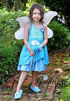 Silvermist Blue Fairy Friend Custom Listing for jennOro Sundress, Fabric wings, Wand, slippers