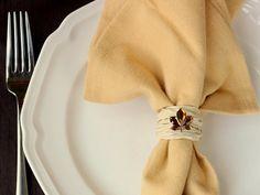 DIY fall napkin rings using raffia. ~ Mod Podge Rocks!