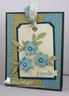 Sunday, April 28, 2013  Rita's Creations: Fab Friday Flowers | Stamps:  French Foliage, Summer Silhouettes, Sweet Essentials; Ink:  River Rock, Baja Breeze, Not Quite Navy; Paper:  Not Quite Navy, Baja Breeze, River Rock, Very Vanilla, Neutrals DSP stack; Accessories:  Basic Pearls, Baja Breeze and Very Vanilla seam binding, linen thread; Tools:  Big Shot, Lacy Brocade embossing folder, Little Leaves sizzlit, Finishing Touches edgelits, 3/8 circle punch