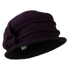 2 Pleat Detailed Boiled Wool Bucket Hat - Purple