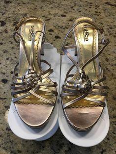 7101f6dd003f0 Tribeca By Kenneth Cole Womens Gold 3 1 2 Inch Heel Shoe Size 8M