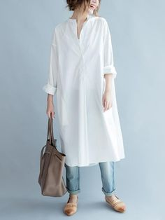 Simple Stand-collar White Long Blouse Dress – Linen Dresses For Women Look Fashion, Hijab Fashion, Fashion Outfits, Womens Fashion, White Fashion, Dress Fashion, Spring Fashion, Mode Outfits, Dress Outfits