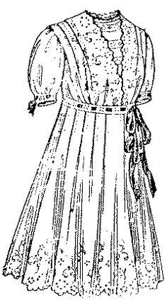 Past Patterns: #300: Girls' Empire Dress with Surplice Waist: Circa 1914
