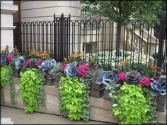 Container Gardening Ideas Fall container plantings - ornamental kale, chartreuse sweet potato vines and variegated vinca will work well in warmer climates. Fall Window Boxes, Ornamental Cabbage, Ornamental Plants, Fall Containers, Fall Container Gardening, Fall Planters, Garden Planters, Autumn Garden, Autumn Fall