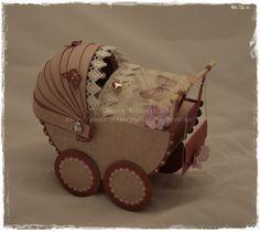 Barnevogn, papirbretting, paperfolding, 3D, scrapbooking, scrapbook, papir, paper, stroller, wagon, baby carriage