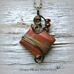Red Jasper Wire Wrapped Pendant Necklace in Antique Bronze by CareMoreCreations.com, $29.00