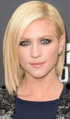 17 Fashionable Celebrity Bob Haircuts to Copy: #1. Brittany Snow Sleek Straight Bob Haircut