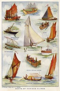 F E Wright boats, boats of various climes, vintage ship clipart color, sea clipart, printable boats book plate