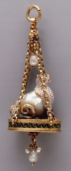 Pendant in the Form of a Seated Cat, Gold, Baroque Pearl, Enameled Gold Mounts & Pearls, Probably Spanish in Origin, Late 16th-Early 17th Century.