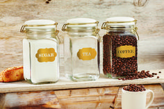 Sunrise Canisters  #coffee #tea #sugar #gold #metallic #canister #kitchen #organize