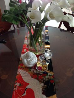 Chinese New Year 2014 - Table top decoration using a spectacular Japanese obi as a foil.