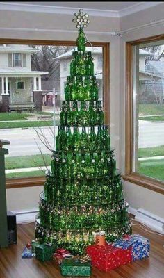 Upcycle beer bottle Christmas tree