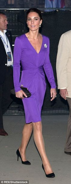 Kate was glamorous in a purple Issa dress in Canada