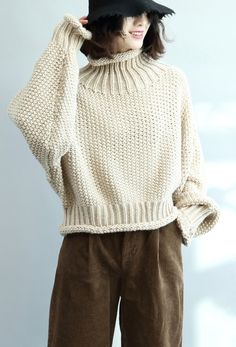 For Work high neck Sweater weather Upcycle beige Big knit tops fall Plus Size Sweaters, Casual Sweaters, Cozy Sweaters, Oversized Sweaters, High Neck, Big Knits, Moda Vintage, Casual Tops For Women, Sweater Weather