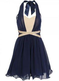 Navy Chiffon Overlay Criss Cross Halter Dress,  Dress, halter dress  sleeveless, Chic