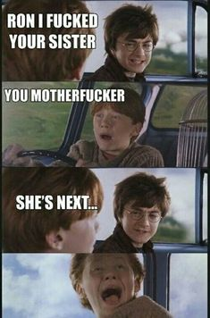 Harry Potter admits he has slept with Ron Weasleys Sister! Funny Baby Images, Funny Pictures For Kids, Funny Kids, Fail Pictures, American Funny Videos, Funny Dog Videos, Humor Videos, Justin Bieber Witze, Funny Cartoons