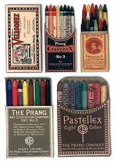 Vintage crayons. Prang, Velasquez, Rubens