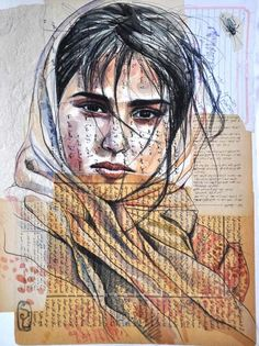 Mixed Media Portraits by Stéphanie Ledoux Stephanie Ledoux was at the Grand Bivouac last year. L'art Du Portrait, Collage Portrait, Collage Art, Collage Drawing, Woman Portrait, Art And Illustration, Art Sur Toile, Ledoux, Ap Studio Art