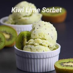 Kiwi Lime Sorbet - Check out this delicious ice cream sorbet treat! - Informations About Kiwi Lime Sorbet - Check out Healthy Dessert Recipes, Cookie Recipes, Kiwi Recipes, Healthy Drinks, Summer Recipes, Lime Sorbet, Tasty, Yummy Food, Dessert Bread