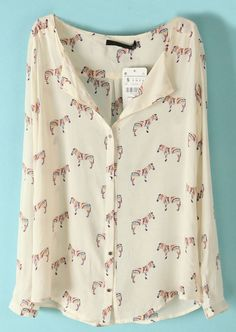 Zebra Print Blouse - Sheinside.com