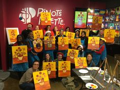 """""""Happiness like a fine wine should be savored sip by sip. Feuerbach Shout out to Kaiser-Permanente Healthcare for hosting a fun Holiday Party with us! Team Building Events, Paint And Sip, Painting Studio, Fine Wine, Event Venues, Holiday Parties, Palette, Happiness, Party"""