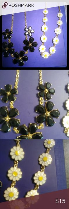 Statement Necklace Bundle Black and Flowers Two really cute statement necklaces that would be great all year around. Both necklaces are gold tone and adjustable. They are both in excellent condition. Unknown Jewelry Necklaces