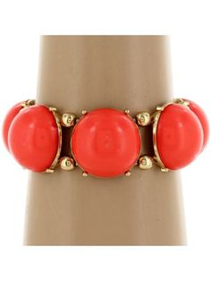 Coral and Goldtone Bubble Stretch Bracelet