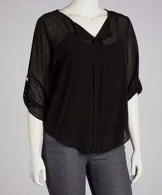 Take a look at this jon & anna Black Top - Plus on zulily today!