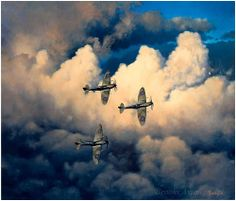 Good Morning B Flight by Alex Hamilton  A flight of Spitfire IX's climb through a break in the clouds to a welcome from the morning sun.