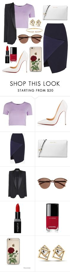 """""""Untitled #290"""" by razanrozzy ❤ liked on Polyvore featuring Boohoo, Christian Louboutin, Ted Baker, Michael Kors, Tom Ford, Witchery, Smashbox, Chanel and Nadri"""