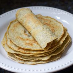 Paleo Tortillas 3 large eggs 4 egg whites cup) – cup water* 1 tablespoon olive oil 1 cup tapioca starch/flour cup flax meal 2 tablespoons coconut flour teaspoon gluten-free baking powder teaspoon sea salt lard, olive oil or coconut oil for frying Primal Recipes, Real Food Recipes, Vegetarian Recipes, Cooking Recipes, Healthy Recipes, Free Recipes, Crepes, Gluten Free Wraps, Grain Free Bread