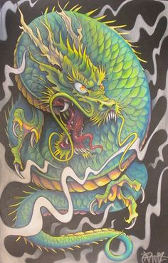 the dragon by JWheelwrighttattoos.deviantart.com on @DeviantArt
