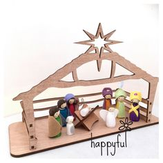 Our handmade nativity sets from Happyful now come with their own specially designed laser cut stable and manger!