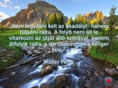 """""""Nem legyőzni kell az akadályt - hanem túljutni rajta. (...) A folyó nem áll le vitatkozni az útját álló sziklával, hanem átfolyik rajta, s derűsen rohan a tenger felé."""" Müller Péter Buddhism, Einstein, Life Quotes, Motivation, Inspiration, Quotes, Quotes About Life, Biblical Inspiration, Quote Life"""