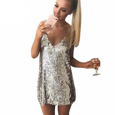 Backless Sexy Dress Off Shoulder Mini Dress Deep V Neck Autumn Silver Sequined Backless Sexy Dress Women Off Shoulder Mini Dress Christmas Party Club Strap Dresses Vestidos Striped Party Dresses, Club Party Dresses, Sequin Party Dress, Party Dresses For Women, Sexy Dresses, Dresses Elegant, Casual Dresses, Short Dresses, Mini Dresses