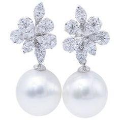 South Sea Pearl Diamond White Gold Fancy Cluster Earrings