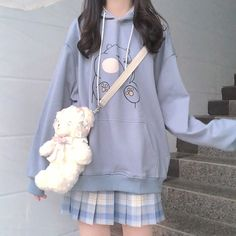 Japanese ins college wind cute bear hoodie sold by Asian Cute {Kawaii Clothing}. Shop more products from Asian Cute {Kawaii Clothing} on Storenvy, the home of independent small businesses all over the world. Pastel Fashion, Cute Fashion, Fashion Outfits, Grunge Outfits, Aesthetic Fashion, Aesthetic Clothes, Cute Casual Outfits, Pretty Outfits, Korean Outfits Cute