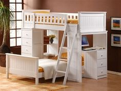 Furniture & Design :: Bedroom furniture :: Bedroom Sets :: Bunk Bed Sets :: White or espresso finish wood loft bunk bed set desk and drawers Loft Bed Desk, Loft Bunk Beds, Bunk Bed With Desk, Modern Bunk Beds, White Loft Bed, Twin Size Loft Bed, White Bunk Beds, Bed With Desk Underneath, Bunk Bed Sets