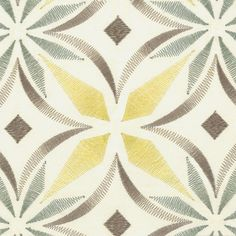 KH Window Fashions, Inc.- Fabulous Fabric Friday, March 27, 2015 Stout | Product: Oklahoma 2 Tawny Contemporary Medallion, available in 4 colorways Multipurpose embroidery suitable for bedding, pillows, headboards and light to medium upholstery