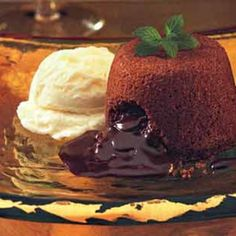 These cakes are slightly underbaked so that the chocolate center oozes when cut into.