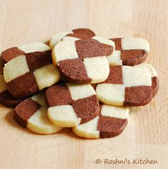 Roshni's Kitchen: Mini Checker Board Cookies - Chocolate and Almond Butter Cookies - Eggless Cookies