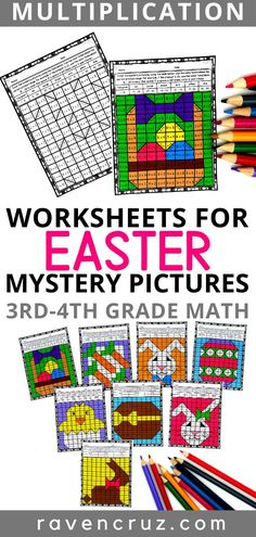 Do your students love mystery pictures as much as mine? These Easter-themed multiplication worksheets are a cr Easter Activities For Kids, Math Activities, Educational Activities, Math Resources, 3rd Grade Math Worksheets, Multiplication Worksheets, Fourth Grade Math, Third Grade, Grade 3