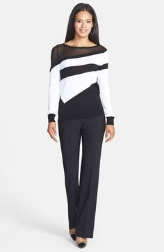 Classiques Entier® Stripe Pullover & Stretch Wool Pants  available at #Nordstrom