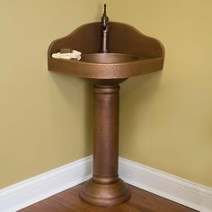 Hammered Copper Corner Pedestal Sink   Bathroom Sinks   Bathroom